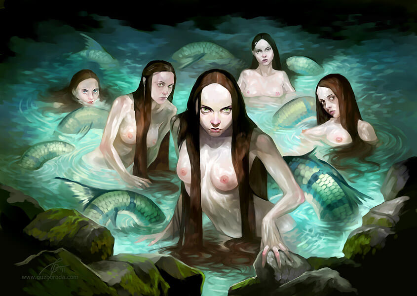 Cave mermaids for Berserk CCG. © 2011 Fantasy World, Inc