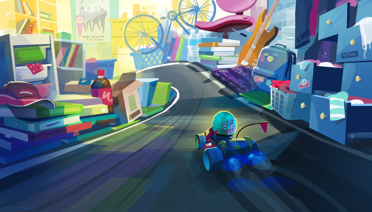Environment sketch for kart racing game