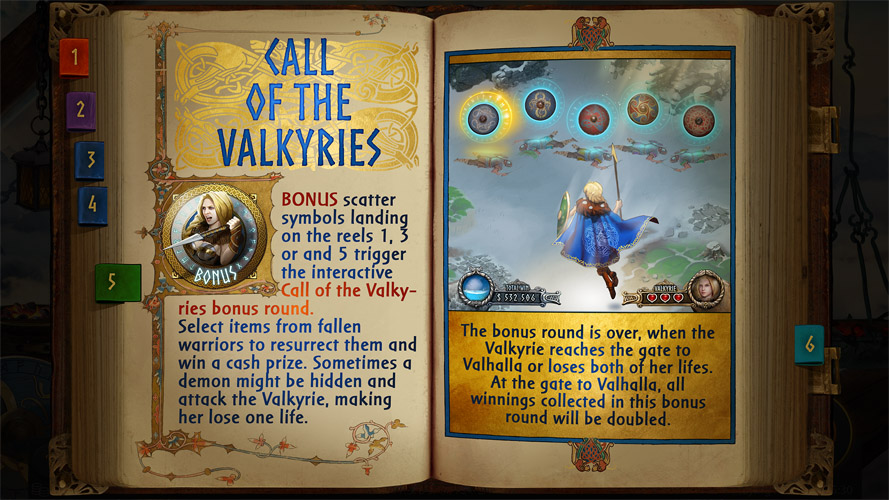 UI design and illustrations for Call of the Valkyries video slot game