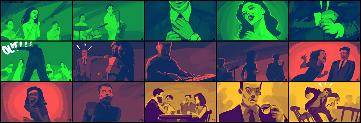 Storyboard for the music video by Oksana Guzenko