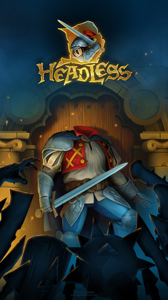 Splash screen for mobile game HeadlessD. Art and programming by Pavel Guzenko