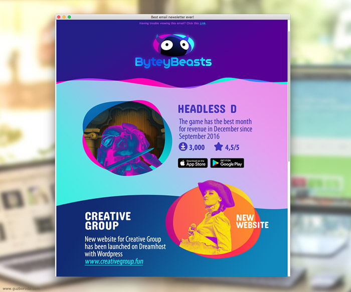 The newsletter design for ByteyBeasts