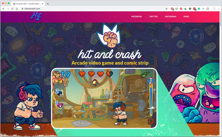 Landing page design for Hit and Crash video game (loading might take some time)