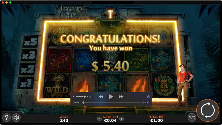 Motion design for Legend of the Jaguar video slot game